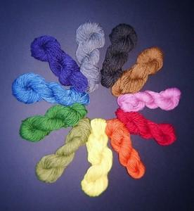 Skeins of yarn natural dyed in a rainbow of colors