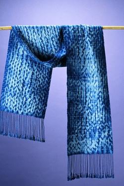 a woven shibori scarf